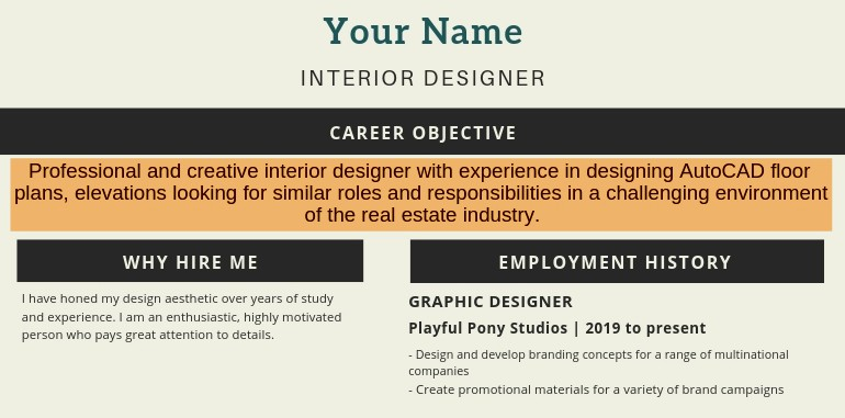Career Objective Or Resume Objective Examples