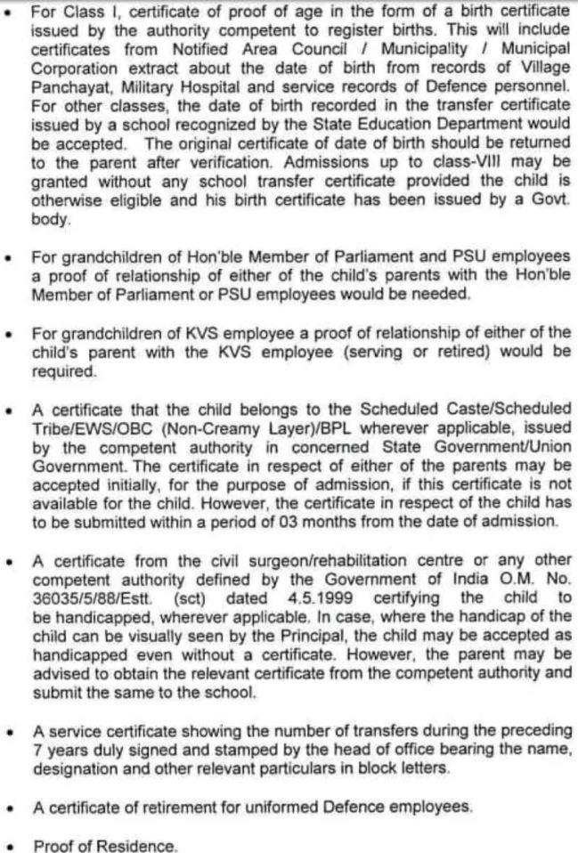 Kendriya Vidyalaya Admission Documents