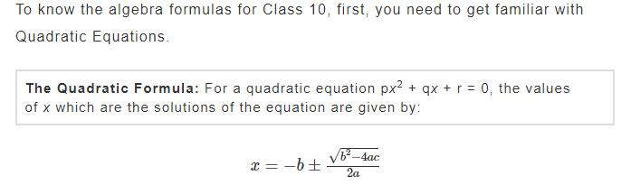 Algebra & Quadratic Equations Maths Formulas For Class 10th