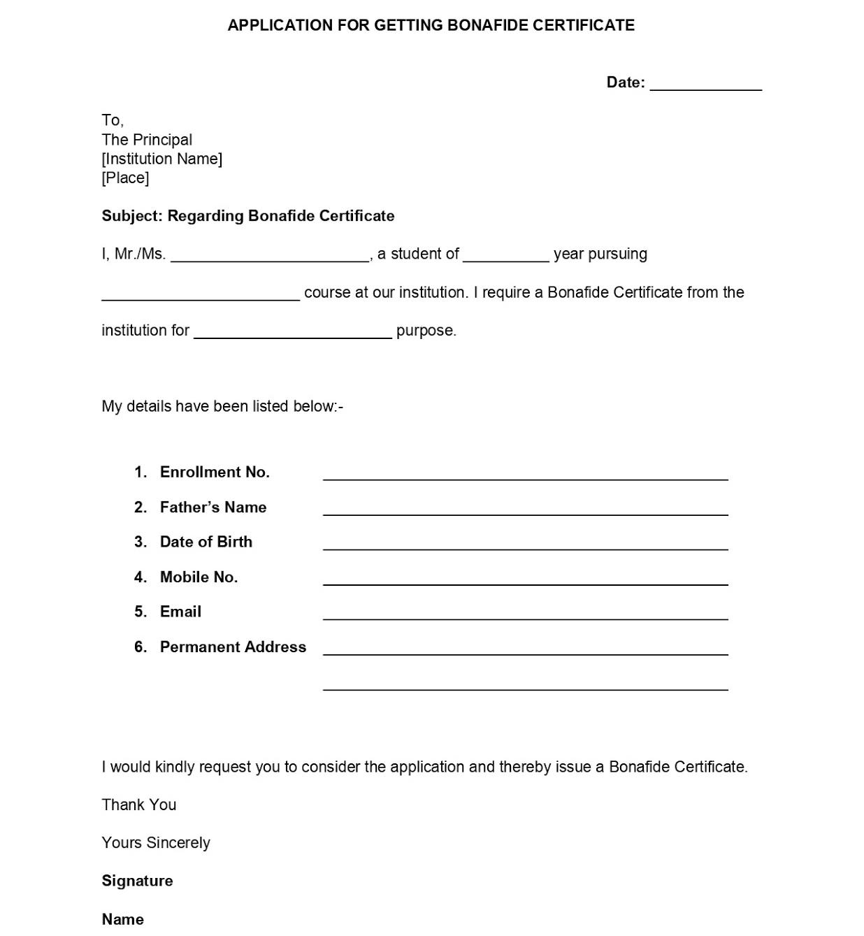 bonafide certificate application form format for students