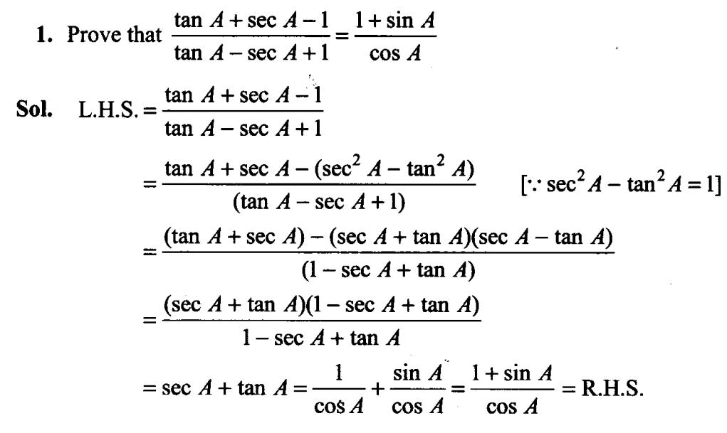 Trigonometry Formulas for Class 11 1.1
