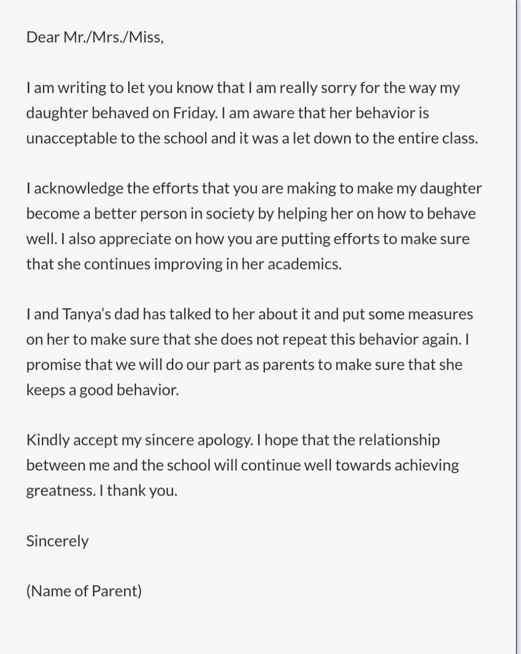 Apology Letter Format (Misbehavior from Parents)