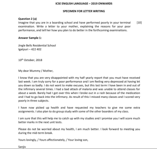 CISCE ICSE Class 10th Letter Writing Sample Paper