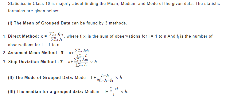 Statistics Maths Formulas For Class 10th