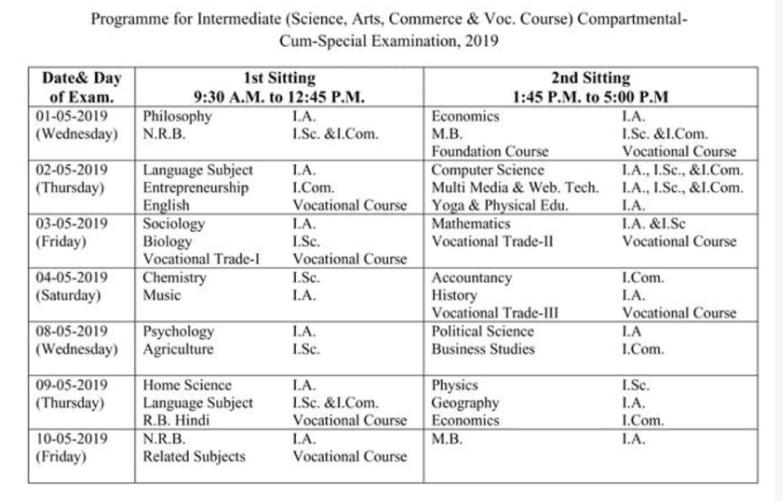 Bihar Board Intermediate Compartment Routine 2019