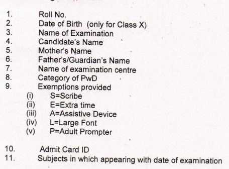 Details of CBSE Class 10th Admit Card