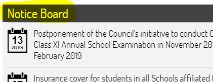 ICSE Class 10 time table 2019