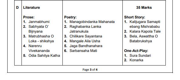 Odisha class 10thSyllabus 2020 .c