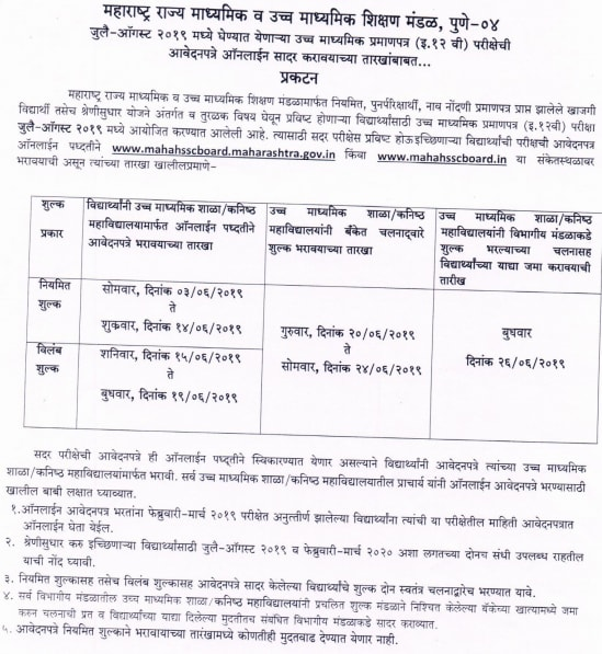 Maharashtra HSC/12th Supplementary Result,Time Table, Hall Ticket 2019