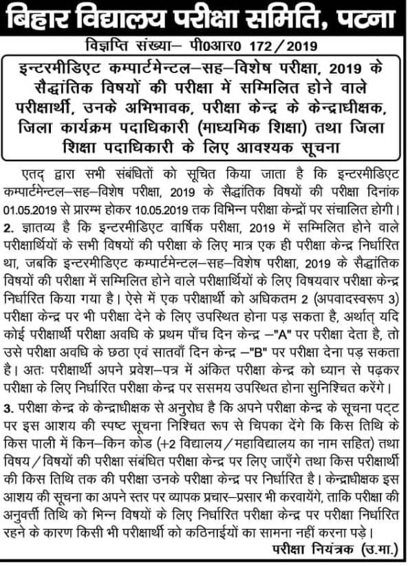 Bihar 12th Comapartment Exam 2019