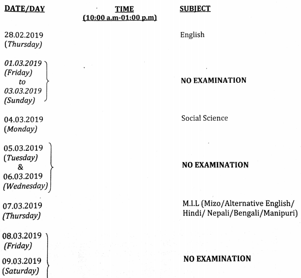 MBSE HSLC 2019 Timetable