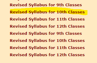 Syllabus MP Board class 10