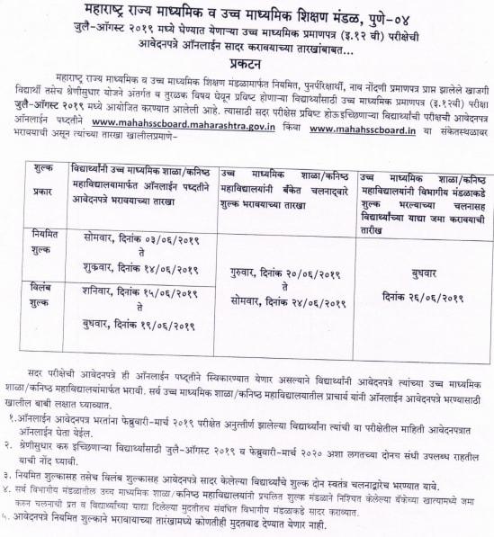Maharashtra Board HSC Registration 2019-Maharashtra Board 12th