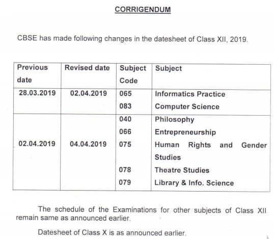NCERT Datesheet 2019 class 12th
