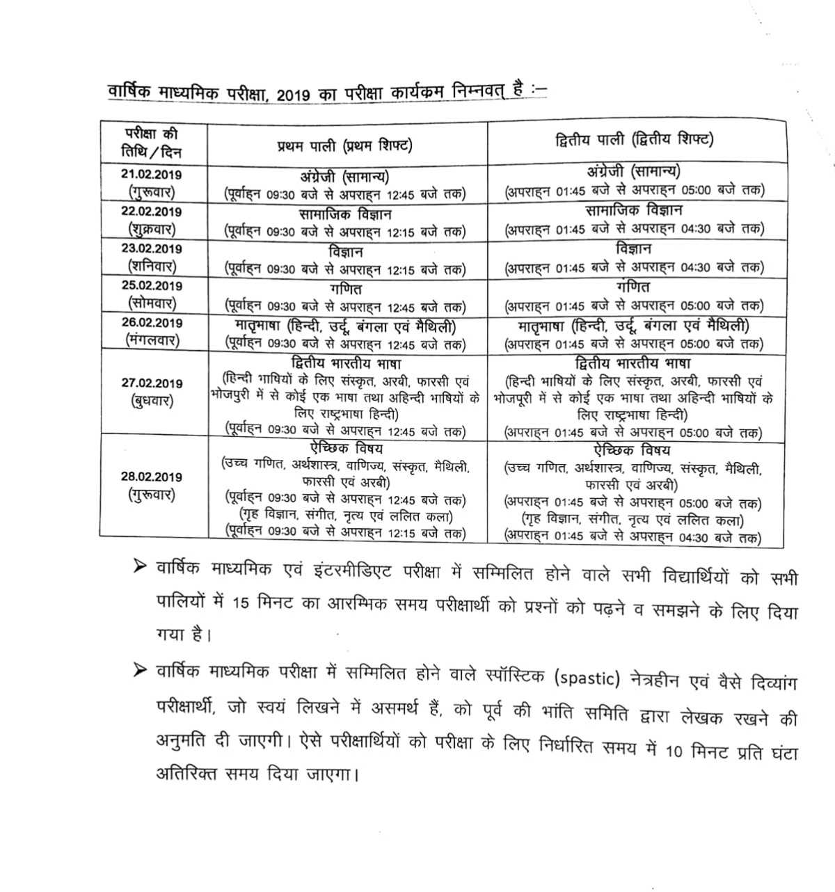 Bihar Board 10th/Matric Routine 2019