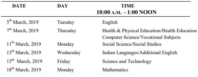 MBOSE 10th timetable 2019