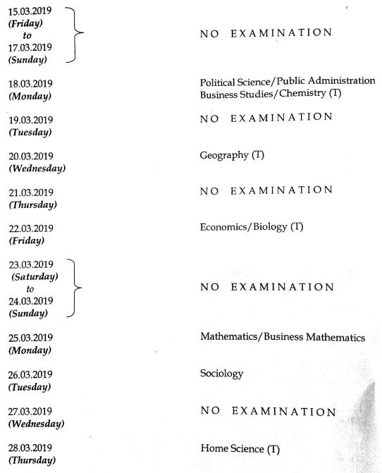 MBSE HSSLC Timetable 2019