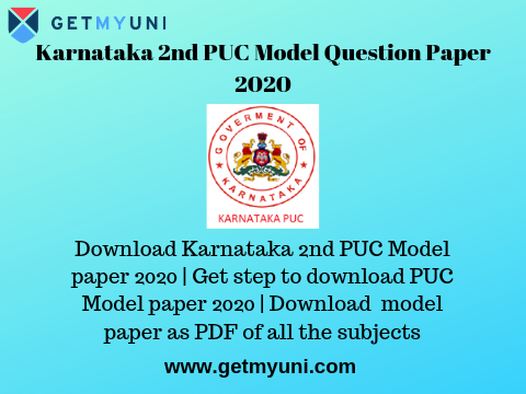 Karnataka 2nd PUC Model Question Paper 2020 | Download