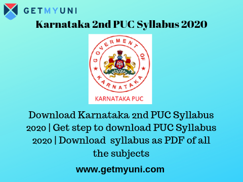 Karnataka 2nd PUC Syllabus | Download updated 2nd PUC