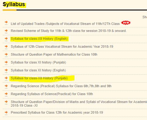 Punjab Board 12th Syllabus 2020 | Download latest PSEB 12th