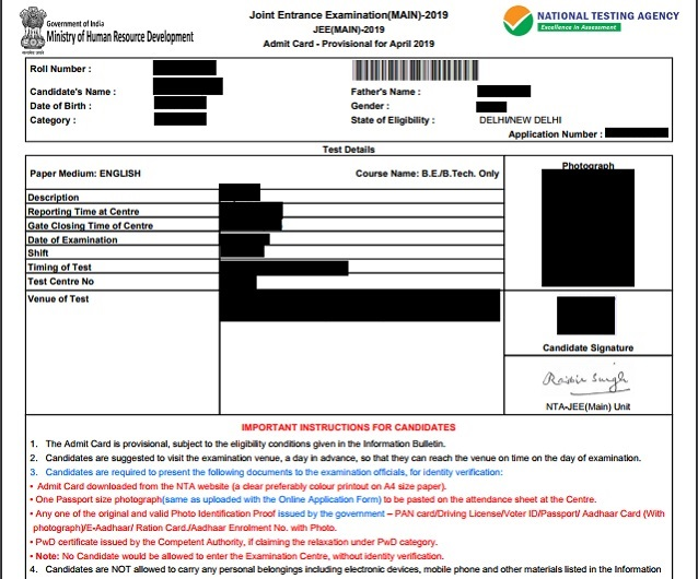 JEE Main Sample Admit Card