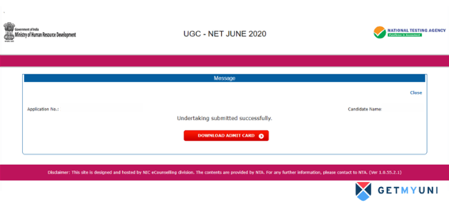 UGC NET 2020 Admit Card can be downloaded only after completing the undertaking process.
