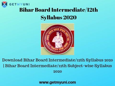 Bihar Board Intermediate/12th Syllabus 2020