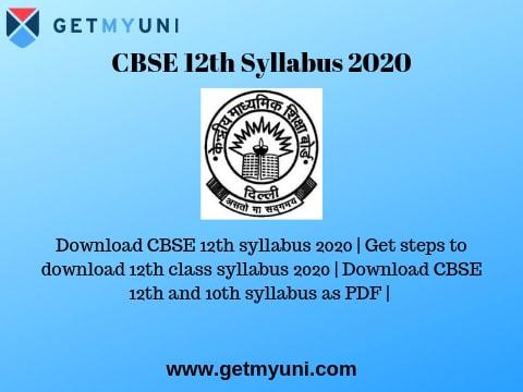 CBSE 12th Syllabus 2020