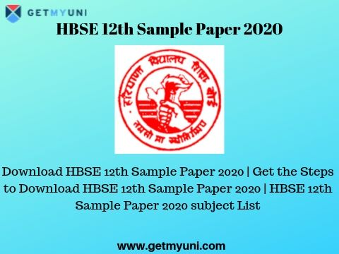 Hbse 12th Sample Paper 2020 Download Latest Hbse Model Question Papers
