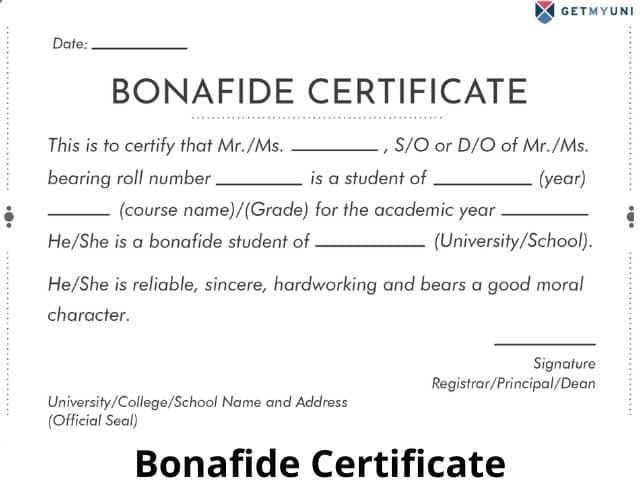 Bonafide certificate sample for students